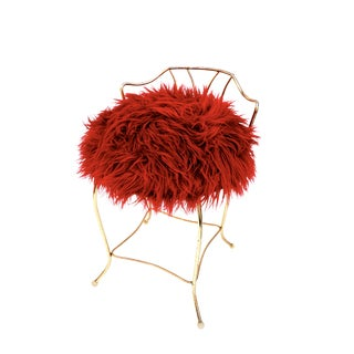 Mid-Century Hollywood Regency Gold Metal & Red Faux Fur Vanity Stool