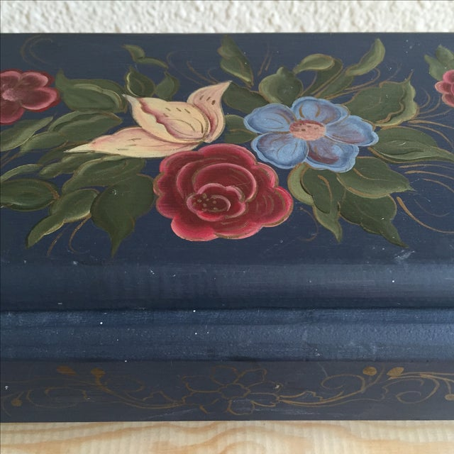 Hand Painted Blue Floral Box - Image 3 of 5