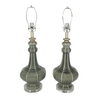 Jamie Young Gourd-Shaped Ceramic Table Lamps- A Pair
