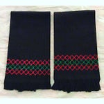 Image of Black Embroidered Hand Towels - A Pair
