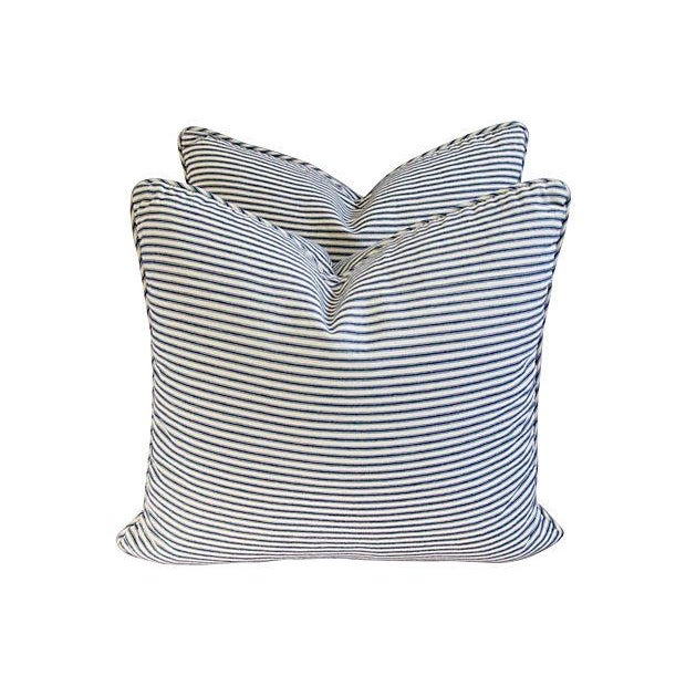 French Blue & White Ticking Pillows - A Pair - Image 3 of 7