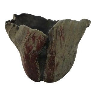 Large Raku Fired Mid-Century Pottery Vase