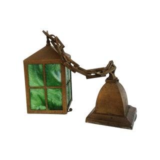 Vintage Green Glass Lantern Pendant