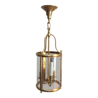 Gilt Brass Petite Round Lantern with Canopy