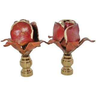 Vintage Tole Rose Finials - A Pair