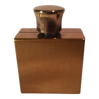 Mid-Century Modern Gold Metal & Glass Perfume Bottle