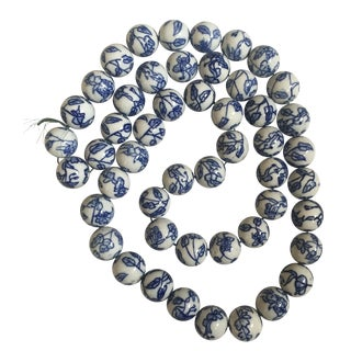 Blue & White Chinese Floral Porcelain Beads