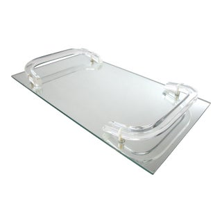 Mirrored Tray With Lucite Handles