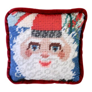 Printed Needlepoint Santa Pillow, Handcrafted