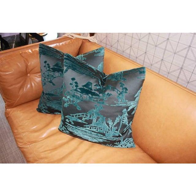 Ebony & Aqua Toile Pillows - Image 4 of 4