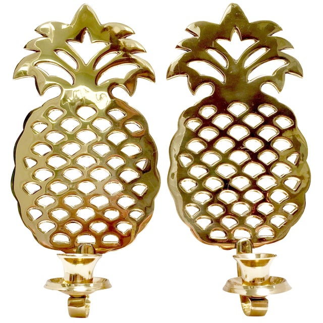 Brass Pineapple Candle Sconces - A Pair - Image 1 of 7