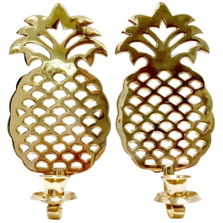 Brass Pineapple Candle Sconces - A Pair