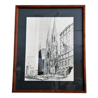 St. Patrick's Cathedral Pen & Ink Monochrome Lithograph