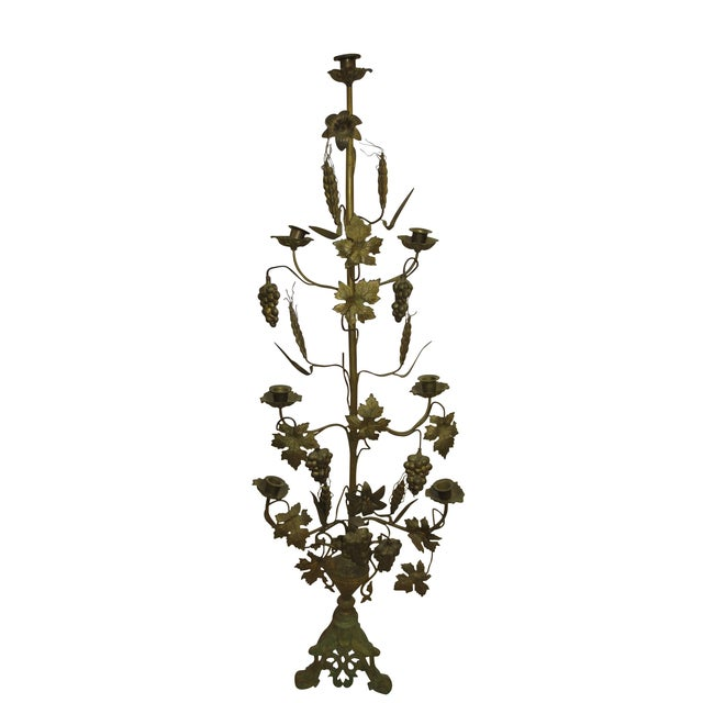 Tall Brass Floral Candleholder - Image 1 of 8