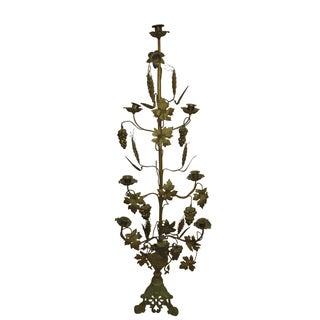 Tall Brass Floral Candleholder