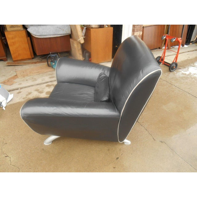 Italian Designer Contemporary Black Leather Chair - Image 3 of 5