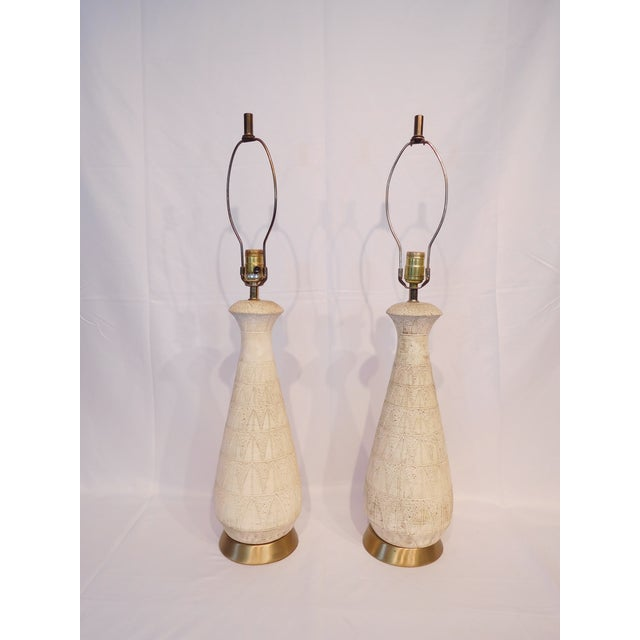 Image of Vintage Abstract Patterned Ceramic Lamps - A Pair