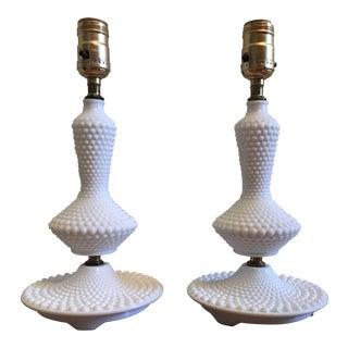 Hobnail Milk Glass Lamps -Pair