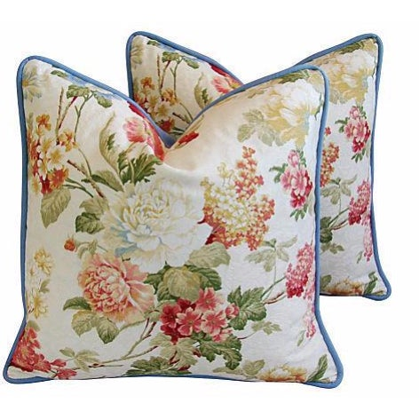 Designer English Jacquard Floral Pillows - Pair - Image 1 of 7