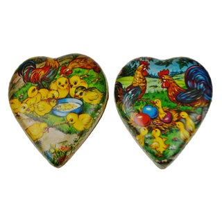Vintage 1950's German Paper Mache Easter or Valentine's Candy Container - A Pair