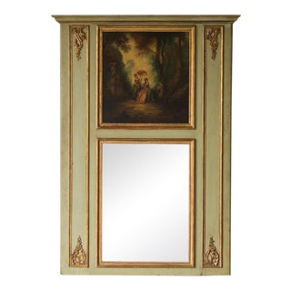 Louis XVI Style Painted Trumeau Mirror, Original Painting Above, France circa 1850 (45″w x 64″h)