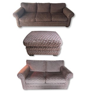 Chenille Basketweave Sofa, Loveseat & Ottoman