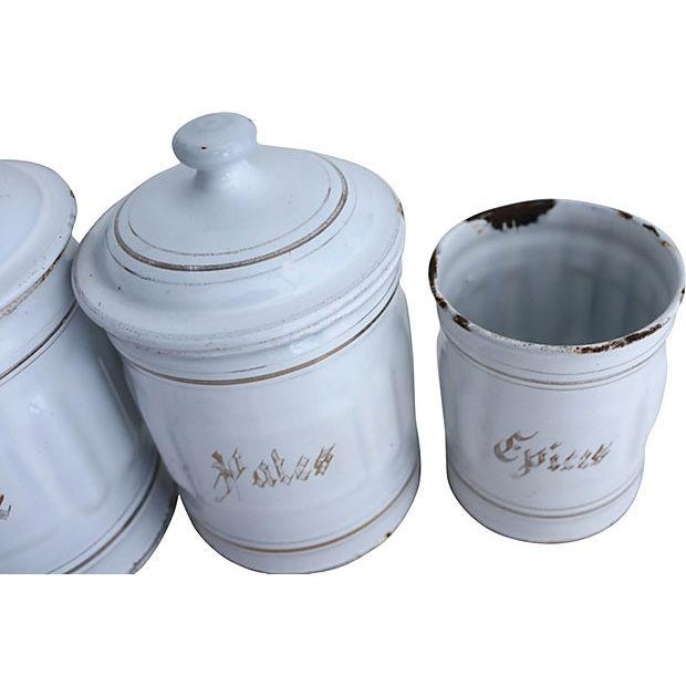 Image of Vintage French Enamel Kitchen Canisters - Set of 5
