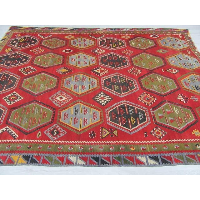 Vintage Oversized Decorative Turkish Sivas Kilim Rug