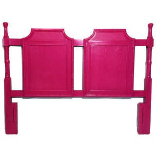 Vintage Pink Faux Bamboo Queen Headboard