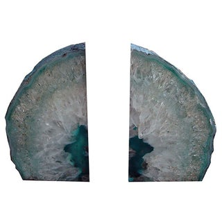 Large Teal Blue Crystal Agate Bookends