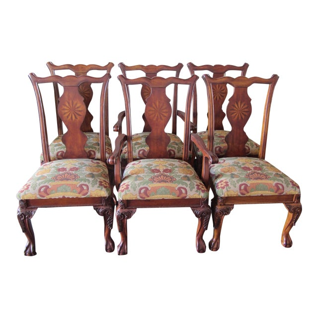 Rustic Queen Anne Marquetry Splat Dining Chairs Set Of 6 Chairish