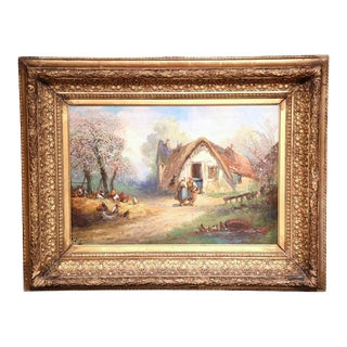 19th Century French Oil on Canvas Country Scene Painting