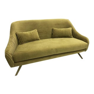 West Elm Green Velvet Loveseat