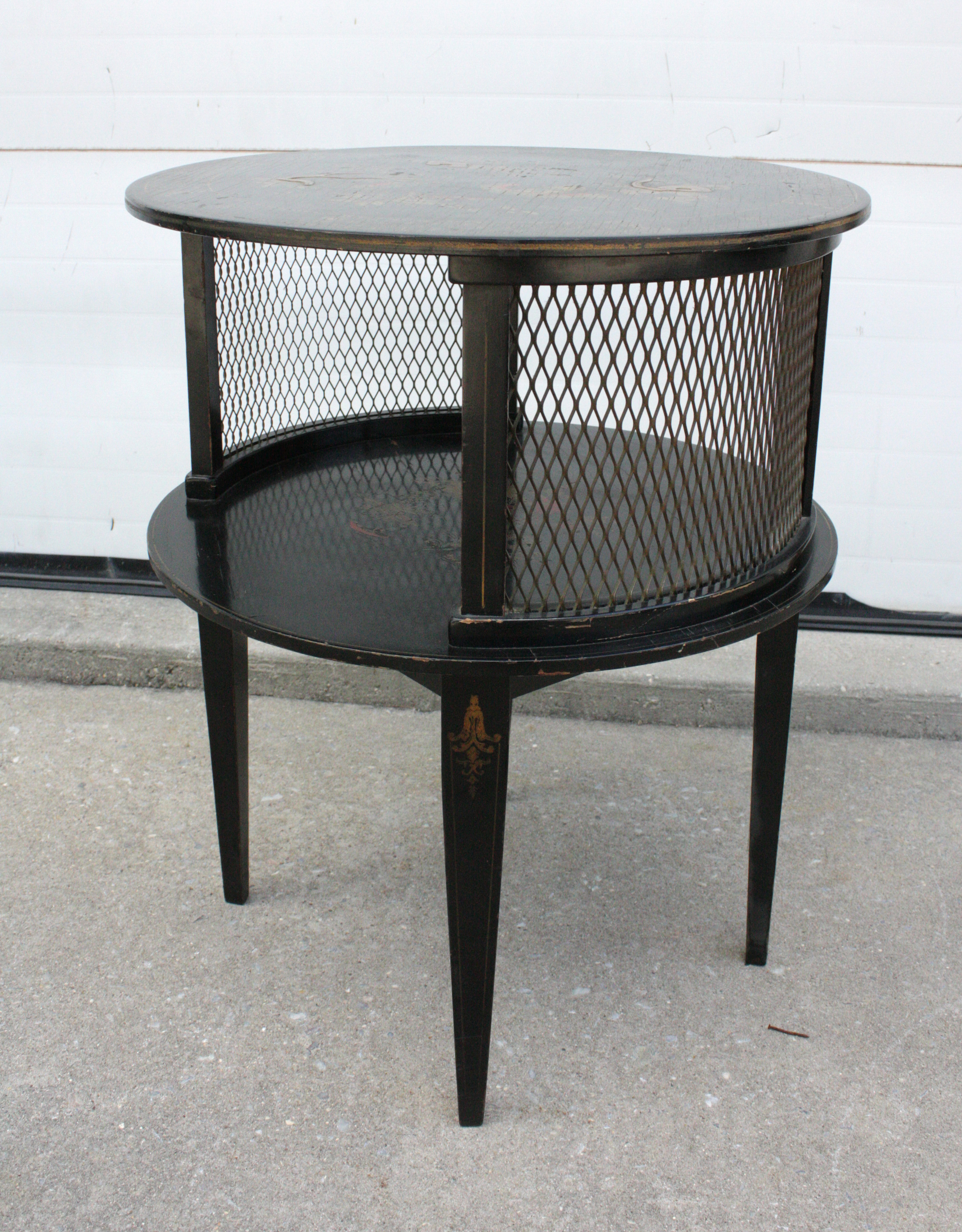 1930s Round Black Hand Painted Side Tables   2   Image 9 Of 10