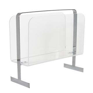 Lucite Chrome Magazine Rack