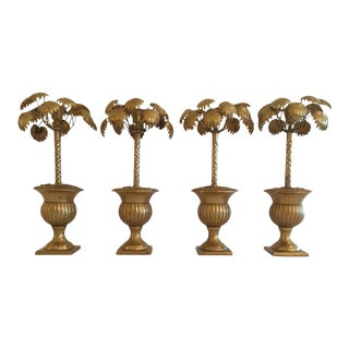 Whimsical Potted Palm Tree Brass Candlesticks - Set of 4