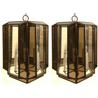 Vintage Brass Hanging Lanterns - Pair