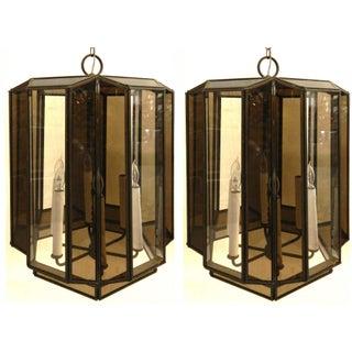 Vintage Brass Hanging Lanterns - Pair
