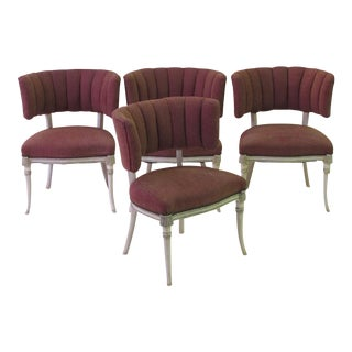 An elegant set of 4 Grosfeld house 1940's ivory painted and parcel-gilt side/game chairs
