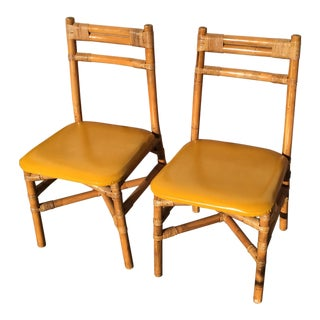 Pair Bamboo Side Chairs Mid Century