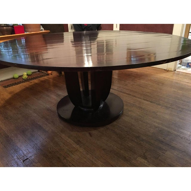 Baker Coffee Table Round: Baker Furniture Co. Round Fluted Mahogany Dining Table