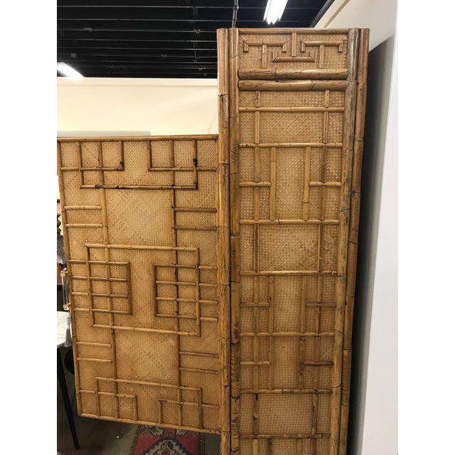 Vintage Rattan Bamboo Armoire Cabinet With Lucite And Brass Handle - Image 5 of 11