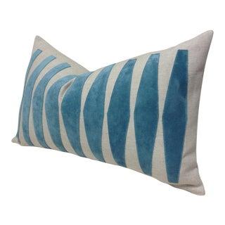 Aqua Velvet Applique Custom Made Pillow Cover