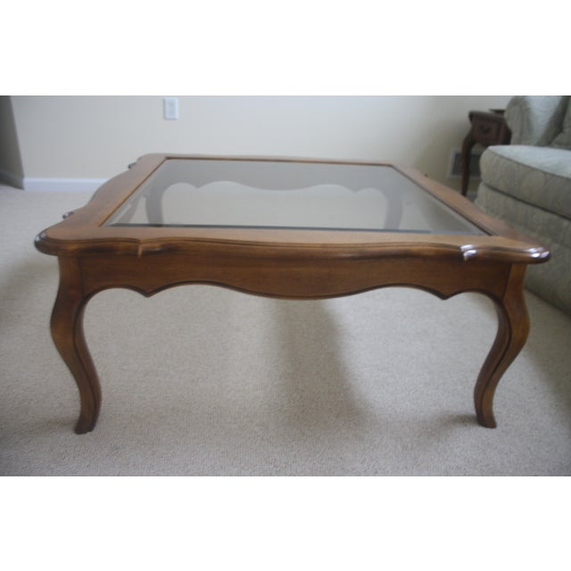 Ethan Allen Rectangular Coffee Tables: Ethan Allen Country French Coffee Table With Beveled Glass
