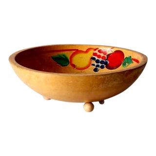 Vintage Painted Wood Bowl