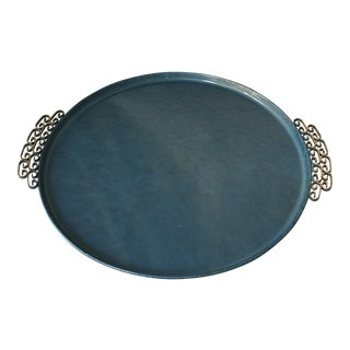 Vintage Moire Blue Tray