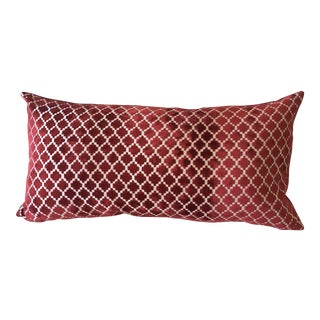 Red Moroccan Tile Velvet Pillow