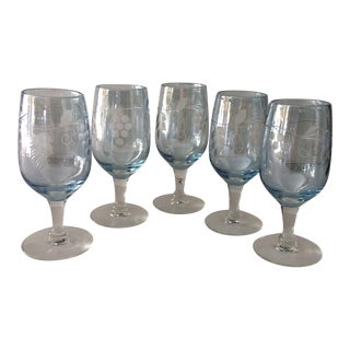 Royal Gallery Blue Etched Crystal Aperitif Glasses - Set of 5