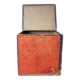 Antique Wood Coffee Box - Vintage Tea and Coffee Shipping Crate - Wooden Advertising Display Box