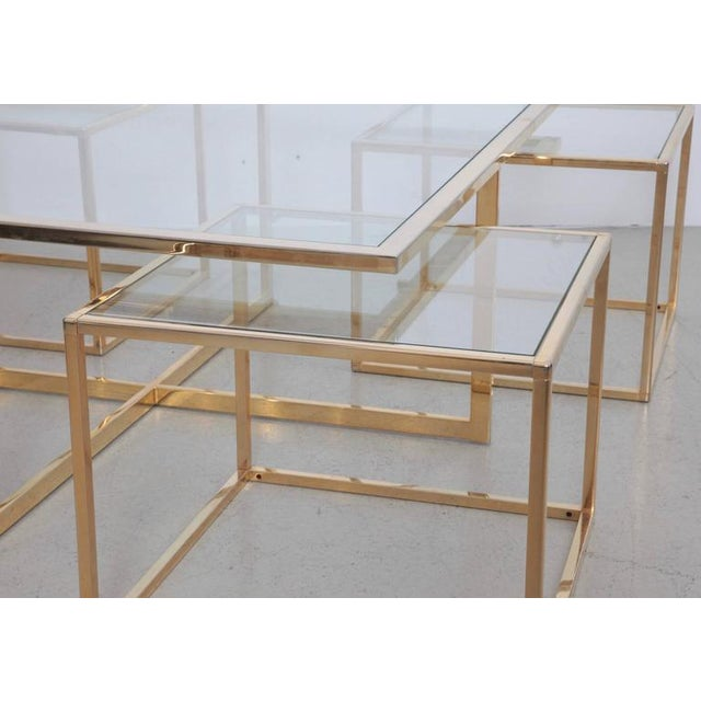 Huge Coffee Table in Brass with Four Nesting Tables by Maison Charles - Image 2 of 6